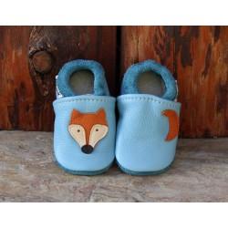 chaussons en cuir fabriqués en France, motif renard