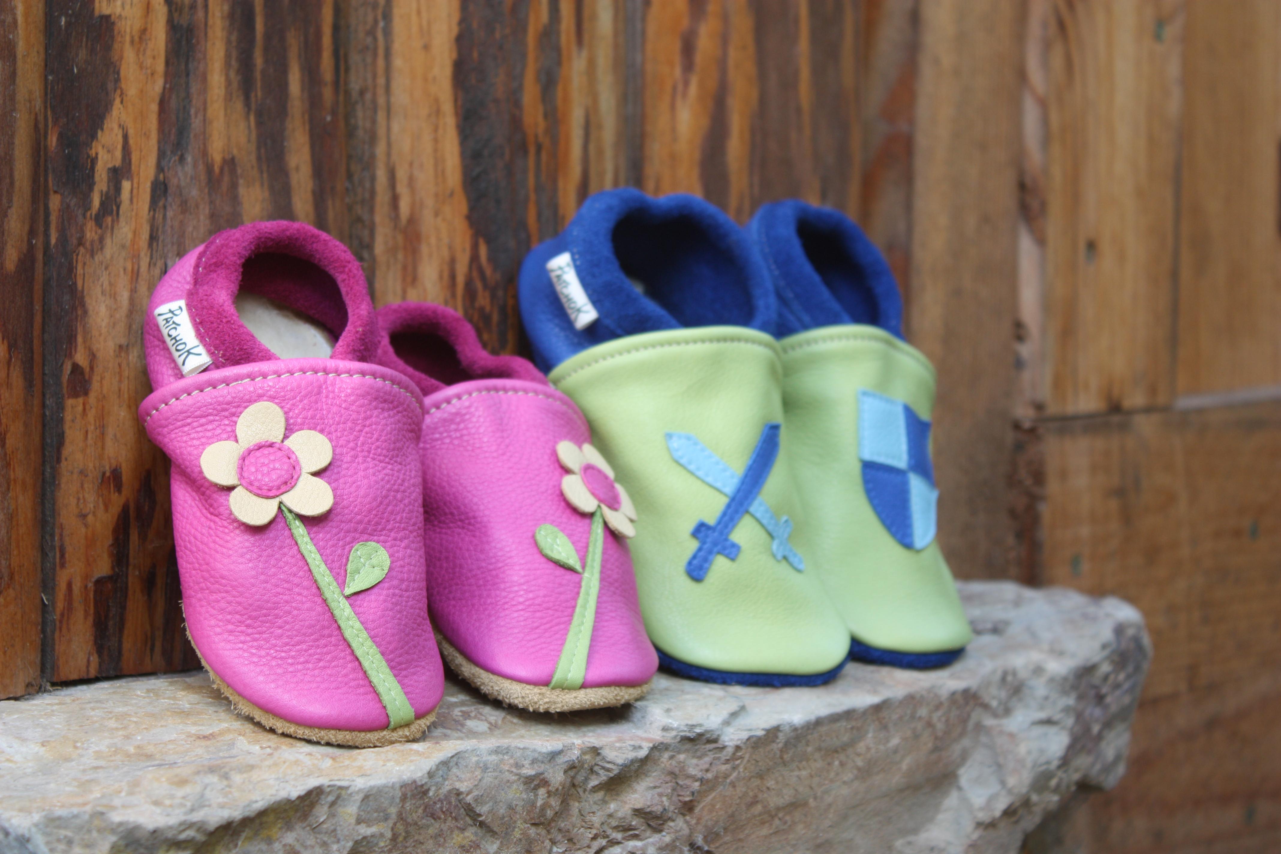 Chaussons en cuir naturel pour enfant