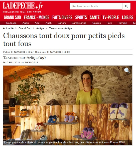 Article chaussons patchok La depeche du midi