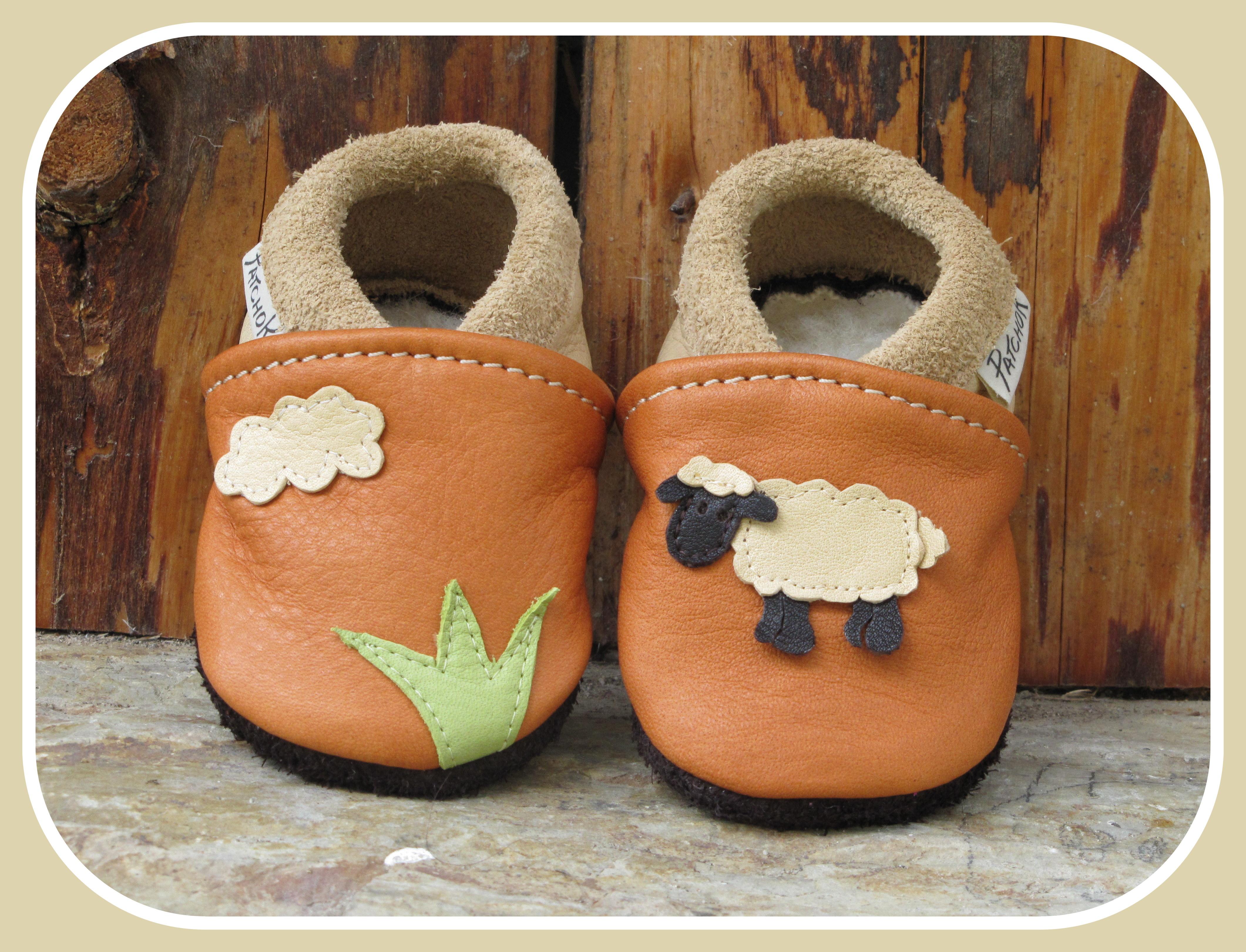 Chaussons personnalisés pour bébé, en cuir souple