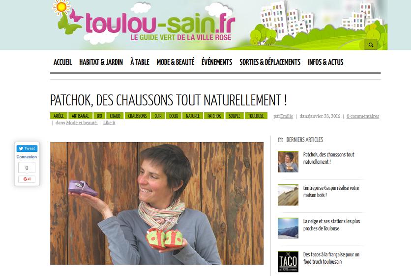 Article sur les chaussons Patchok dans le guide vert de Toulouse