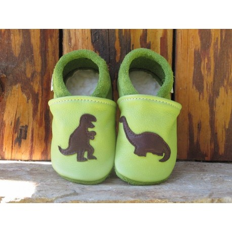 Chaussons cuir enfant dinosaure vert pomme/chocolat
