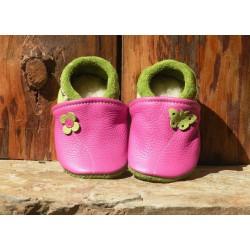 chaussons cuir fuschia/vert pomme