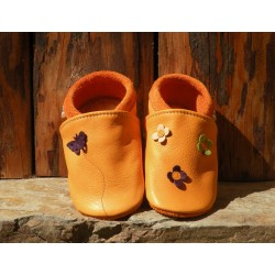 Chaussons cuir coloris mangue/prune