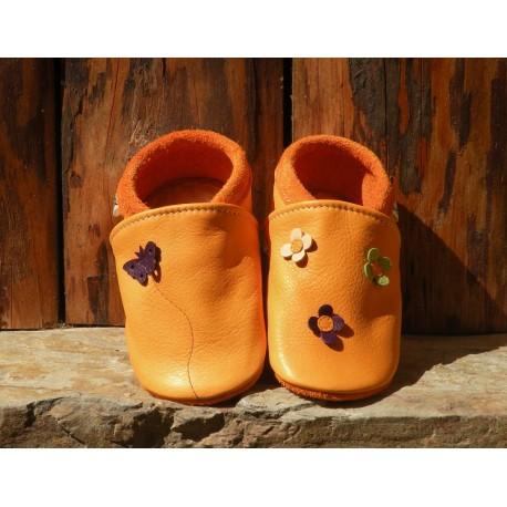 Chaussons cuir coloris mangue/prune