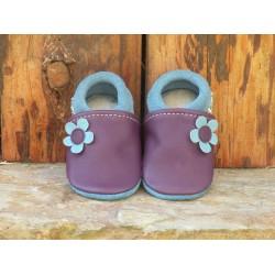 Chaussons en cuir pour bébé, modèle fleur