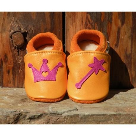chaussons cuir princesse mangue/fuschia