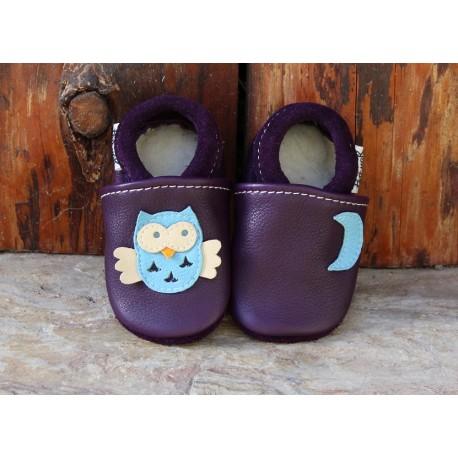 Chaussons cuir bébé CHOUETTE prune/bleu ciel