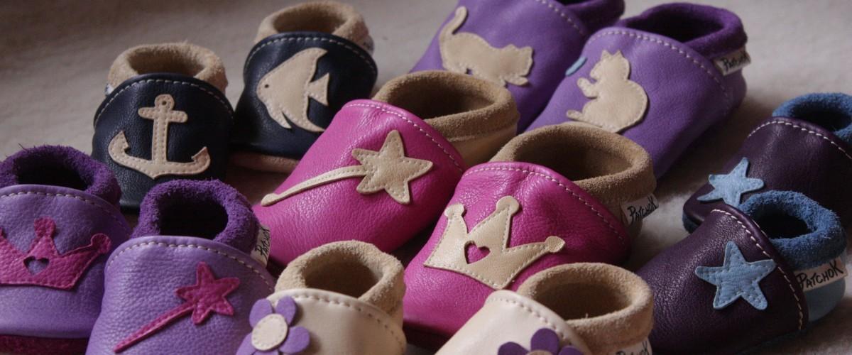 Chaussons en cuir pour bébé, faits en France